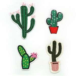 Milopon Patch Stickers Broderie Autocollant Applique Cactus Forme pour Bricolage Vêtements Jeans Robe T-Shirt Chapeau Artisanat 1pcs