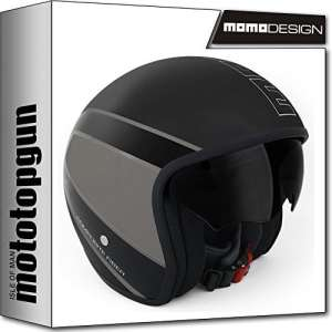 Momo-Design Casque Moto Raptor Noir Opaque Outline Gris ml