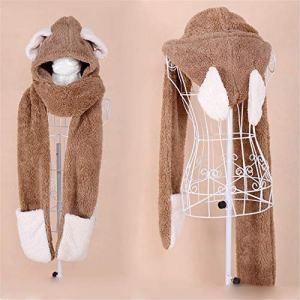 NEW Pour les enfants doux hiver chaud écharpe à capuche foulard foulard Hoodie Hat Parent (Couleur : M-L)