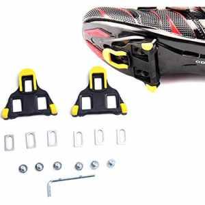 plaques de chaussures de vélo,Route Crampons 6 degrés flotteur auto-verrouillage du vélo Pédales Taquet pour des chaussures système Shimano SPD-SL (Jaune)