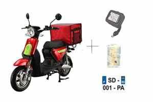 Scooter CKA EXPRESS ROUGE électrique batterie Lithium amovible 5ans garantie (Top case arrière)