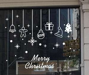 Stickers muraux Hehem Merry Christmas Sticker mural Home Shop Windows Stickers Décor 60 * 70 cm, marron