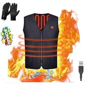 USB Chauffant électrique Gilet Unisexe Chaud Vêtements Embellisseur de Corps Gainant pour extérieur d'équitation Ski Pêche avec,with Une Paire de Gants Chauds GRATUITS (Noir, L)