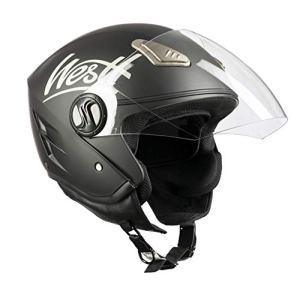 Westt® Jet · Casque Moto Jet en Noir Mat pour Scooter Chopper · Casque de Moto Homme et Femme Demi-Jet · ECE Homologué