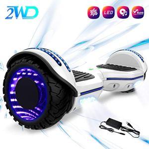 2WD Hoverboard 6.5 Scooter électrique de, Scooter électrique de équilibrage d'individu de 6.5 Pouces avec Les Roues Lumineuses, Orateur de Bluetooth, UL certifié – Moteur de 2 * 350W (Blanc)