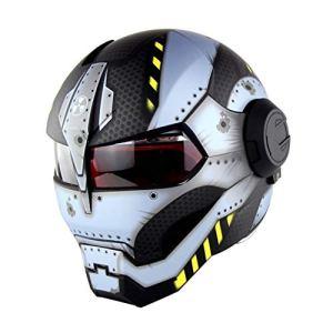 GX Casques Personnalité Moto Marvel Iron Man Casque Casque Intégral Harley Vintage Uncovering Helmet Open Shockproof Mirror Double Casque De Moto Sécurité en Hiver,C-L