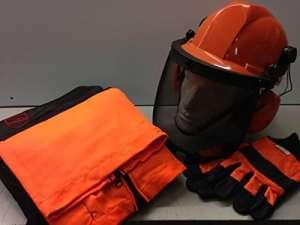 Tronçonneuse kit de sécurité–Type A Pantalon/Chaps, DE Grande Gants et casque avec sangle de menton