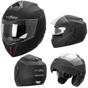 A-PRO SRL Casque Intégral Double Visière ECE 2205 Moto Scooter Noir Mat S