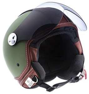 "Armor · AV-84 ""Vintage Deluxe Green"" (green) · Casque Moto Jet · Demi Jet Helmet Cruiser Scooter Retro Chopper · ECE certifié · Visor · Click-n-Secure™ Clip · Sac fourre-tout · M (57-58cm)"