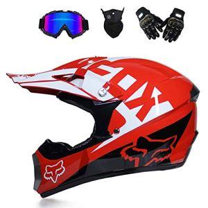 Casque de Moto Hors Route Adulte pour Motocross Moto VTT VTT Casque de Montagne Complet AM Casque de Protection intégrale MX/Masques/Masque/Gants (Jeunesse S-XXL, Style 6),redFOX,L