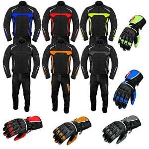 Combinaison de Moto avec des Gants Armored Costume 2 pièces Moto Moto Combinaison étanche Jacket avec des Gants de Pantalon CE Armor All Weather pour Homme