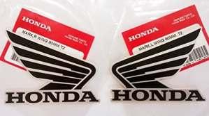 HONDA ailes Réservoir à carburant Gaz pour autocollants 2x 80mm Noir et argent métallique gauche et droite 100% authentique