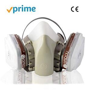 Masque à Gaz Filtre De Protection Ffp3 | NOUVEAU DESIGN 4 PIÈCES DE RECHANGE INCLUS | Respirateur Demi-masque Reutilisable Anti poussière Protection Respiratoire Travail Chimique Toxique Peinture |