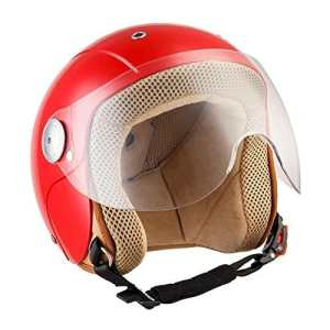 SOXON SK-55 Kids Red · Casque Jet pour Enfant Vespa Pilot Mofa Scooter Chopper Kids Retro Demi-Jet Bobber Vintage Biker Cruiser Moto Helmet · ECE certifiés · visière inclus · y compris le sac de casque · Rouge · S (53-54cm)