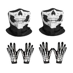 2 Ensemble de tête de mort Masque visage tubulaire de la poussière Masque respirant Ghost Bones Impression visage boucliers avec des gants pour moto vélo Ski randonnée Sports de plein air