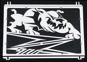 cache radiateur / grille de radiateur inox poli Kawasaki Z900 2017>2018 design «Bulldog» + grillage anti gravillon noir