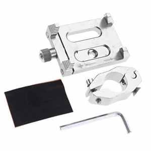 D DOLITY Support Montage de Telephone/GPS Attache Fixation en Alliage d'Aluminium CNC pour Guidon Moto Vélo – Argent, Comme Décrit