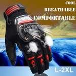 Gants Moto Eté Homologué CE, Gants Homme Femme Plein-Doigt Respirable avec Ecran Tactile pour Téléphone GPS, Protection Pour Moto Motocross Scooter Vélo (1 paire:2XL)