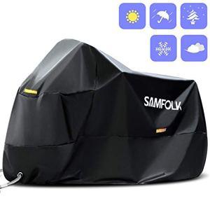 Housse de Protection Moto & Scooter, Samfolk Bâche Moto 210D Couverture Imperméable PVC, Taille Universelle pour Usage Intérieur et Extérieur (Noir, M)