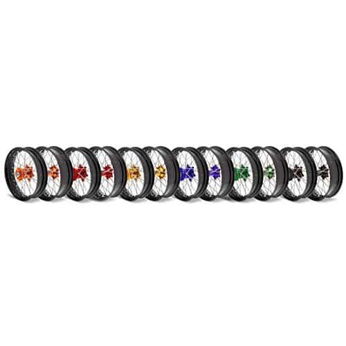 Kit roues complètes avant + arrière ART SM 17×3,50/17×4,50 jante noir/moyeu bleu Husqvarna