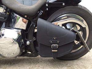 ORLETANOS Sacoche de Selle en Cuir pour Harley Davidson Noir