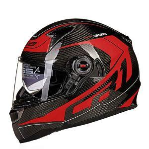 QE Moto Helmets,Équitation De Nuit La Sécurité Haute Résistance Détachable Doublure Motocycle Casque,Double Couche Visière Anti-Buée Motocyclette Casque Moto Cross/C/XXXL