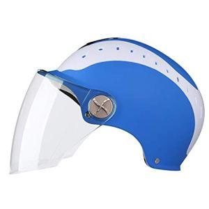 ASDQ Casques de moto pour hommes et femmes General Electric Vehicles Summer Half Casques Légers respirants Lunettes transparentes (Color : Blue-Gradual blue mirror)