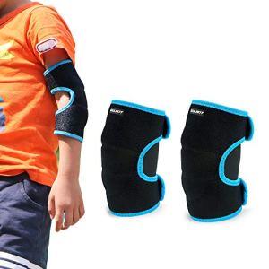 Coudières Enfants, 1 Paire Enfant Protection Coude, Néoprène Protection de Coude pour Roller Patinage Ski Skateboard Cyclisme Basketball, Bleu