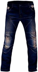 Juicy Trendz de Protection Moto Pantalon Jeans Renforcé avec Protection Aramide Doublure, Bleu, W36-L32