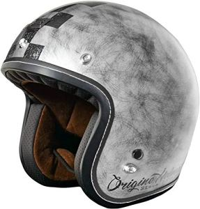 Casque moto type Café Racer Jet. Finition mate. S Silver Matt