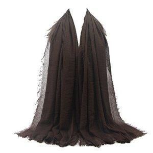 BaZhaHei Foulards Femme Hijab Nuage Echarpe Longue Froissé Viscose Premium Doux Châle Foulard de tête Doux Elégant Uni Fichus(Brown 27#,180 * 90cm)
