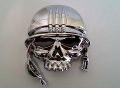 Emblème 3D sticker Chrome tête de mort Casque