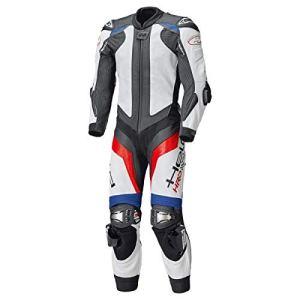 Held Race-Evo II Combinaison intégrale en cuir de vachette bleu/rouge/blanc, protections en titane, protection dorsale SAS-TEC, doublure intérieure en maille 48