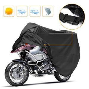 Korostro Housse de Protection pour Moto, Couverture Imperméable en Polyester 190T pour Moto, Bâche de Moto, Contre la Pluie, la Saleté, la Neige, Le Rayon UV, XL (245 * 105 * 125cm), Noir