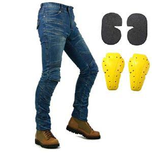 Protection Moto Pantalon Jeans Moto Pantalon d'Équitation avec Protéger Pads Bleu (S- (Waist 31.5″))