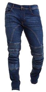 Qaswa Homme Moto Jeans Motards Pantalon Renforcée Aramide Protection Motorcycle Pants, Blue, 30W / 34L