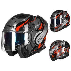 QE résistance à l'abrasion Moto Helmets,Confortable Respirant Facile à Nettoyer Visage Entier Couverture À Rabat Motocycle Casque,Crash Visière Anti-Rayures Motocyclette Casque Modulable/B/L