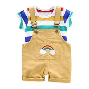 Viewk pour Les Enfants Toddler Baby Boy Kids T-Shirt Rainbow Stripe Hauts Ensemble de Tenues Courtes