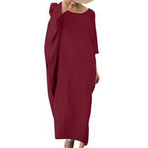 Allegorly Femmes Plus Taille Longue Manche Robe Maxi Longue Femme Grande Taille Ample Style Lin Décontractée Tops Solide Robe Lin Vintage de Maternité Bouffant Énorme Dress