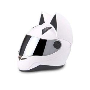 Casques de moto Oreille de chat Été Full Full Face Racing Moto personnalité couvre quatre saisons hommes et femmes Casques de course (Color : White-XL)