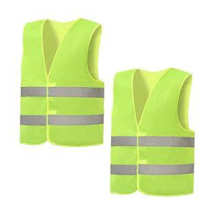 EYROS Gilet Jaune, Lot de 2 Gilets Flu Moto Auto Haute Visibilité réfléchissant Vest de Sécurité pour Travailleur avec Un Risque/Urgence Lavable Polyester Jaune Femmes et Hommes Taille XL