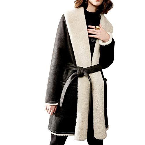 Veste en Cuir pour Femmes, Long Coat Black Original Glossy Leather, Fur One, 100% Cuir, Veste de Moto,L