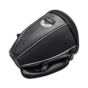 WOSAWE Moto Queue Sac Étanche de Voyage de Siège de Moto Arrière Multifonction Cuir PU Sacoche de Sac à Dos de Rangement (15 litres)