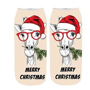 LuckyGirls Chaussettes Confortables à Semelles Courtes en Coton avec Chaussettes en Coton de Noël
