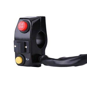 Qiilu Auto Kits guidon, 7/8 «Commutateurs de montage sur guidon de moto avec signal de virage de klaxon Contrôle de faisceau de croisement haut-bas (Noir)
