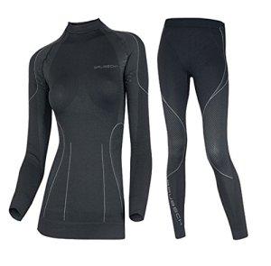 Brubeck–Ensemble de t-shirt et pantalon thermique, idéaux pour activités sportives d'hiver, femme, – Limited Edition / schwarz, XL