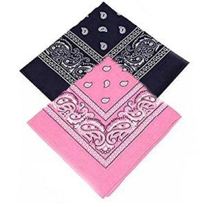 Buckingham Boutique Lot de 2 bandanas cachemire bleu marine et rose bébé bandanas foulard foulard cravate cravate de cou cravate 100% coton pour homme, femme et enfant haute qualité (lot de 2)