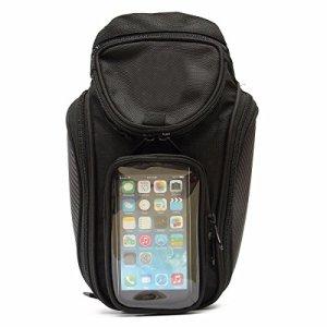 CALALEIE Sac de selle magnétique de sac de réservoir de carburant d'huile de moto avec une plus grande fenêtre de téléphone 36×48.5cm Pièces de décoration moto neuves