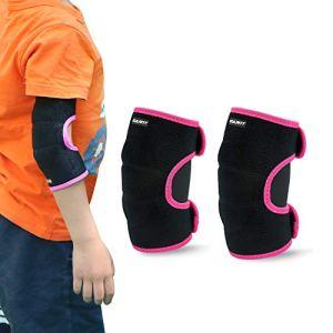 Coudières Enfants, 1 Paire Enfant Protection Coude, Néoprène Protection de Coude pour Roller Patinage Ski Skateboard Cyclisme Basketball, Rose