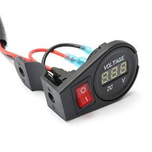 Étrier de Frein de Bicyclette Moto vélo sur Interrupteur – Orange 12V-24V LED Affichage numérique voltmètre jauge de Tension Moto Accessoires